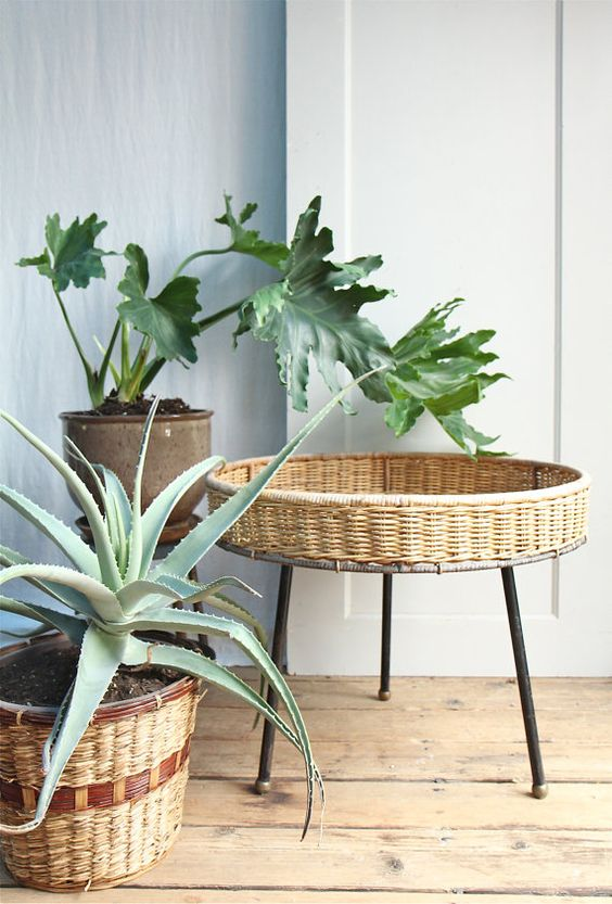Rattan furniture baskets